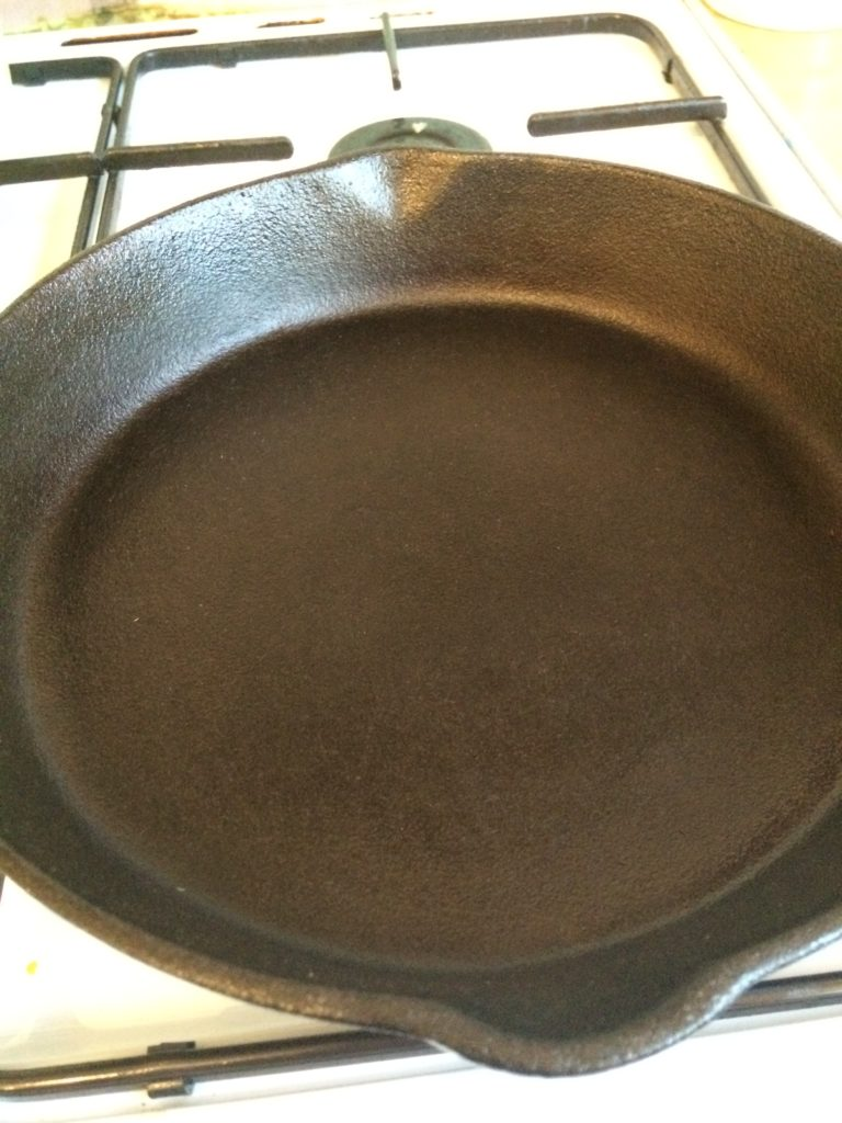 cast iron skillet after cleaning