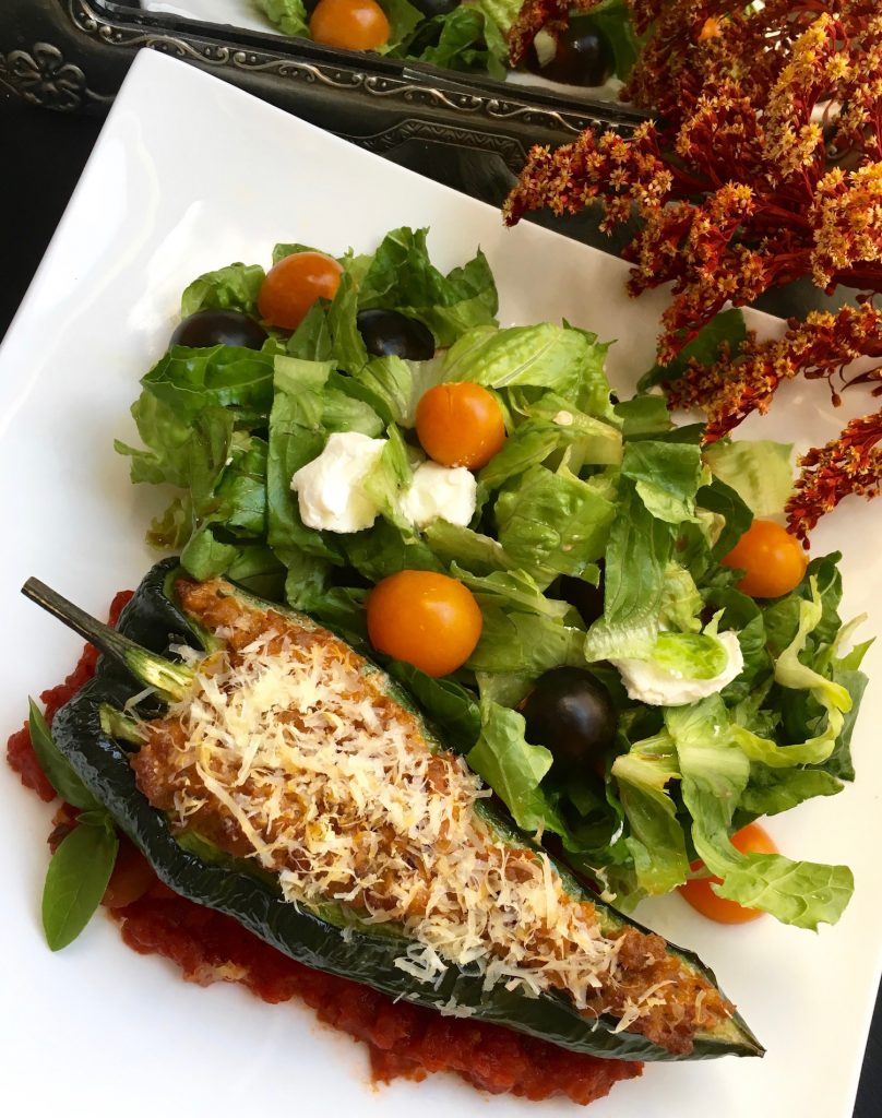 Stuffed Polamo Pepper Side Dish Recipe Keto Diet Friendly