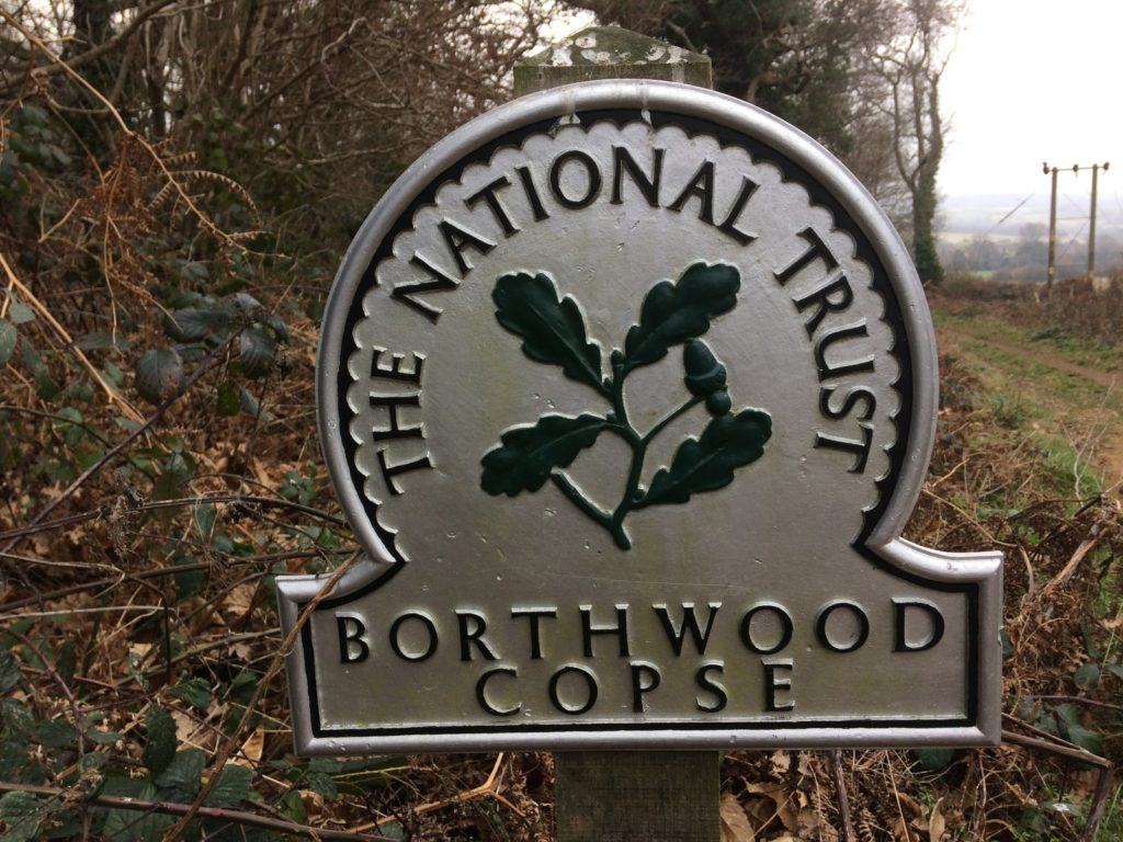National Trust Sign for Borthwood Copse