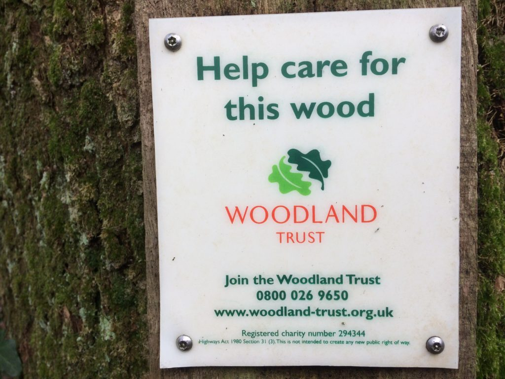 Woodland Trust America Wood Sign