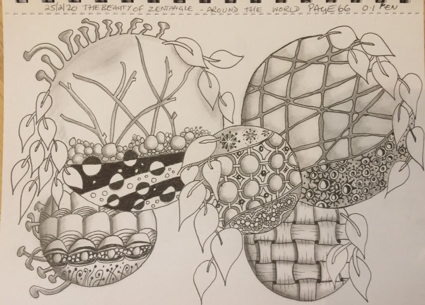 zentangle art strircles and poke leaf